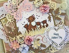 So here is my card that was inspired from this week's challenge...Mother's Day! I chose a mother cat and kittens because my mother LOVES cats and so this reminds me of her so much. #cheeryld Dies used: Miniature Rose - B152; Flourish Leaf Strip - B178; French Pastry Doily - DL102; Polynesian Sails Oval - DL153; Small Exotic Butterflies #2 w/Angel Wings - DL113AB; Two Of Hearts - DL128 http://www.cheerylynndesigns.com