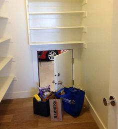 If my garage and pantry don't line up, I'm totally designing an under the house conveyor belt pulley system to bring my groceries to the pantry. I mean, if people can fit in the duct in spy movies, surely groceries can be pulled through. ;)