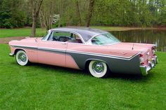 DeSoto FireFlyte …Lots of pink and charcoal cars in Vintage Cars, Antique Cars, Desoto Cars, 50s Cars, American Classic Cars, American Pride, Old Trucks, Cars And Motorcycles, Vintage Motorcycles