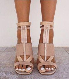 White Toenail Polish with Neutral Shoes