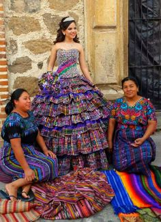 Blending modern with tradition, a prom dress made from traditional Guatemalan corte fabric.