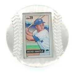 Mickey Mantle Genuine US Postage Stamp Baseball Paperweight
