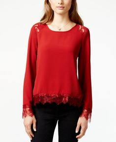 Material Girl Juniors' Lace-Trim Pullover Blouse, Only at Macy's