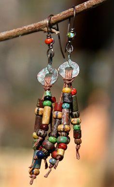 Hippie Chic Fringe - Rustic Verdigris Mykonos and Picasso Beaded Fringe on Hemp ~ Earrings ~ Gifts for her, BOHO, Gypsy, Copper jewelry Hemp Jewelry, Copper Jewelry, Bohemian Jewelry, Wire Jewelry, Jewelry Crafts, Beaded Jewelry, Boho Gypsy, Tribal Jewelry, Jewelry Ideas