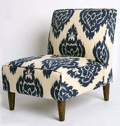 Navy and ivory ikat---- possible fabric for dining room chairs.