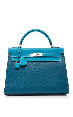 Medium heritage auctions special collections  2 blue hermes 32cm cobalt blue jean blue thalassa ostrich swift leather clemence leather retourne kelly