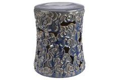 Sarah Garden Stool, Beige/Blue