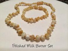 Baltic Amber Teething Necklace Bracelet SET Polished Milk Quartz 12.5 inch Necklace, 5.5 inch Bracelet for baby toddler
