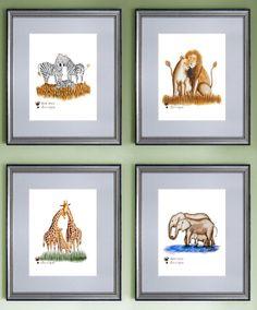 Safari Nursery Art  Lion Art Giraffe Art by TinyToesDesign on Etsy for a baby girl!