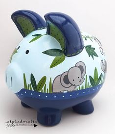 Elephant Monkey Personalized Piggy Bank in Navy and Green The Little Couple, Chevron, Penny Bank, Personalized Piggy Bank, Color Me Mine, Blue And Green, Porcelain Ceramics, Custom Items, Nursery Art