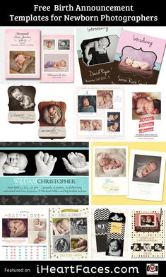 Free Birth Announcement Templates for Newborn Photographers! Photography tips and gift ideas. iHeartFaces.com