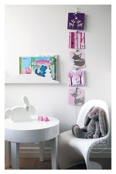 Reading corner..ooooh I love the table and Panton chair! Want!! (For myself!!)