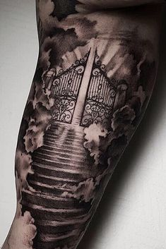 Chest Tattoo Clouds, Cool Chest Tattoos, Chest Tattoos For Women, Hand Tattoos For Guys, Gates Of Heaven Tattoo, Stairway To Heaven Tattoo, Heaven Tattoos, Heavens Gate Tattoo, Half Sleeve Tattoos Designs