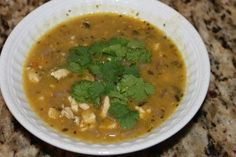 Chicken Chili Soup~Chicken Chili Soup  3 cups chicken breast, cooked and chopped (I used leftover grilled chicken breast)  1 onion, diced  4 garlic cloves, minced  1 jalapeno or Fresno pepper, seeds removed and finely diced  2 – 4 oz cans of diced green chilis  4 cups chicken broth  2 tbsps olive oil  2 tsps ground cumin  1 tablespoon dried oregano  1/4 teaspoon cayenne pepper  Black pepper to taste  Fresh cilantro, diced  Avocado, diced