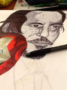Trying a ballpoint pen sketch. #art #RobertDowneyJr #ironman