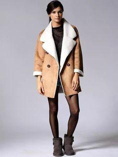 Brown Shearling Fur Lapel Longline Coat
