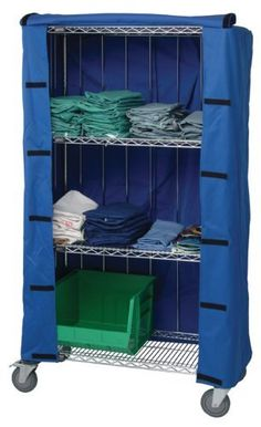 """Wire Shelving Cart Cover 24 x 36 x 74H, CLEAR Vinyl 10 ga Zipper or Velcro by Quantum. $160.69. 24""""W X 36""""L X 74""""H - outter dimension, Protect against pilferage, airborne dust, water and other contaminants. Velcro and zipper flap are available in clear-vinyl and blue and white denierfabric. Clear vinyl is 10 ga. 24 x 36 x 74"""