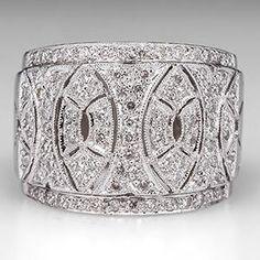 Micro Pavé Diamond Wide Band Ring 18K White Gold - EraGem
