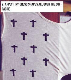 DIY CROSS PRINT ROCK CHIC TOP - Fashion Diva Design