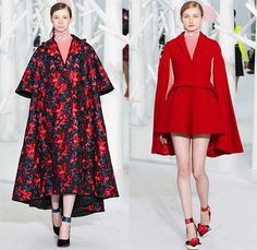 DELPOZO 2015-2016 Fall Autumn Winter Womens Runway Catwalk Looks - New York Fashion Week NYFW - Pre-Raphaelite Shoulder Pads Chunky Knit Sweater Leaf Crochet Velvet Balloon Sleeves Bejeweled Embroidery 3D Embellishments Turtleneck Pinafore Dress Swallow Birds Outerwear Coat Coatdress Sheer Chiffon Tulle Flowers Florals Botanical Print Graphic Pattern Gown Hanging Sleeve Drapery Shorts Pantsuit