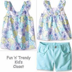 NWT Gymboree TIDE POOL Girls Size 8 Floral Tank Top & Aqua Knit Shorts 2-PC SET #Gymboree #Everyday