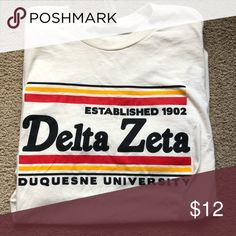 Shop Women's Cream size M Tees - Short Sleeve at a discounted price at Poshmark. Delta Zeta Shirts, Retro Shorts, Short Sleeves, Big, Tees, Women, Fashion, Moda, T Shirts