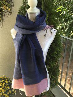 Schal aus Rohseide in dunkelblau, hellblau und zartem Rosa, sFr. 53.-- Shoulder Dress, One Shoulder, Tibet, Dresses, Fashion, Pink, Headscarves, Light Blue, Dark Teal
