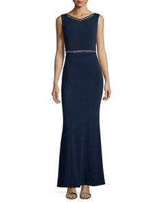 Embellished Sleeveless V-Neck Gown, Dark Midnight - Laundry by Shelli Segal