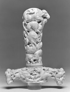 Hilt of a Hunting Sword Depicting Beasts of the Chase