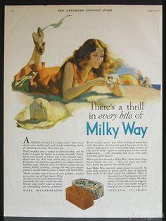 1931-Mars-Milky-Way-Candy-Beach-Oceanside-Wavy-Hair-Woman-Andrew-Loomis-Art-Ad