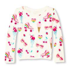 63a1bdf8 Girls Active Long Sweet Shop Print Sweatshirt Kids Patterns, Children's  Place, Printed Sweatshirts,