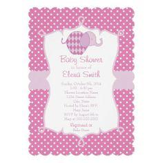 Purple Polka Dot Elephant Baby Shower Custom Invite