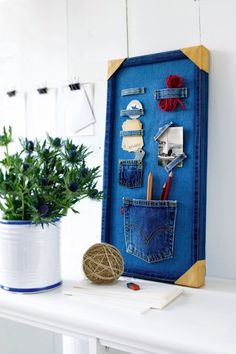 "Cute denim ""bulletin"" style board"