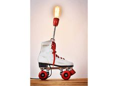 ROLLER SKATE LAMP - Vintage Roller Skate Upcycled Table Desk Light Repurposed Workshop Steampunk Handmade Skider Skater Accent Lamp