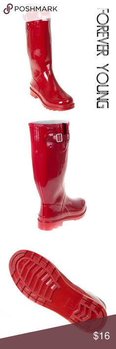 "Women Knee High Rainboots, #3106, Red Brand new glossy woman knee high rainboots by Forever Young. Beautiful red color, cotton lining, removable sole. Posh buckle on the calf side. Approx 14"" tall & approx 15"" in circumference. 100% rubber rain boot!!! Taller than galoshes and protect your feet better while you garden or just walk in the fall or winter rain. Not made for wide calves. Run half a size larger than regular shoes. A true statement in ladies fashion! Forever Young  Shoes Winter…"