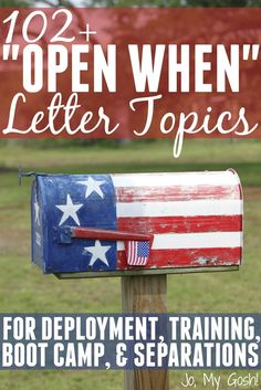Open When letters are a great way to keep in touch when you can't keep in touch. Use this gigantic list to help you brainstorm topics.