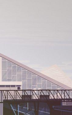 Illustration of PKP Ochota, a train station in Warsaw, Poland.
