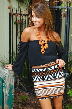 #Colors #black #off #shoulder #shirt #blouse #orange #necklace #aztec #design #wrap #skirt #white #stripes #diagonals #long #sleeves