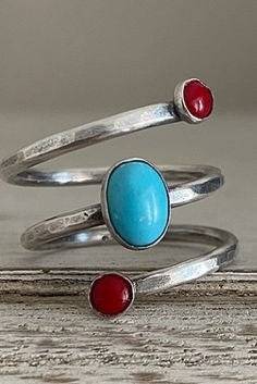 Adjustable Spiral Ring, Hammered Ring, Sterling Silver Wrap Ring, Turquoise and coral, Swirl Ring