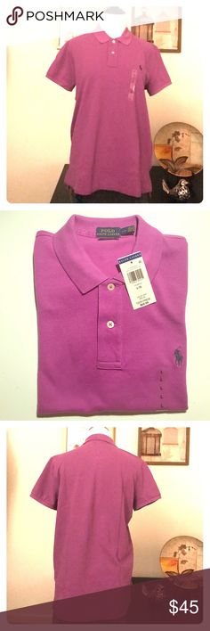 Women's POLO by Ralph Lauren Purple Classic Fit L Classic Fit POLO by Ralph Lauren, Women's Large Polo Shirt,NWT Polo by Ralph Lauren Tops