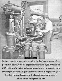 System poczty pneumatycznej w budynkku nowojorskiej poczty w roku 1897. – System poczty pneumatycznej w budynkku nowojorskiej poczty w roku 1897. W pojemniku można było wysłać do 600 listów, ale także większe przedmioty, a nawet żywe zwierzęta. Pojemniki przemieszczały się z prędkością 55 km/h i rurami łączącymi budynki pocztowe mogły dolecieć na odległość 45 km.