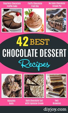chocolate desserts and chocolate recipe ideas - Easy Chocolate Recipes With Mint Peanut Butter and Caramel - Quick No Bake Dessert Idea Healthy Desserts Cake Brownies Pie and Mousse - Best Fancy Chocolates to Serve for Two Best Chocolate Desserts, Chocolate Pies, Healthy Chocolate, Chocolate Flavors, Chocolate Treats, Quick Easy Desserts, Easy Snacks, Delicious Desserts, Healthy Desserts
