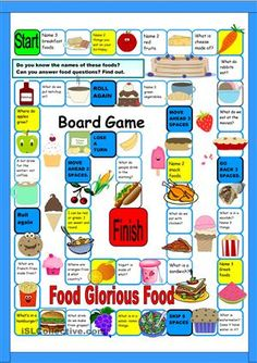 Easy food board game. Name the food in the space you land on or answer a simple food question. There is a light blue background not shown here. The pictures are grouped. Ungroup to change. Thanks to PhillipR for the template. - ESL worksheets