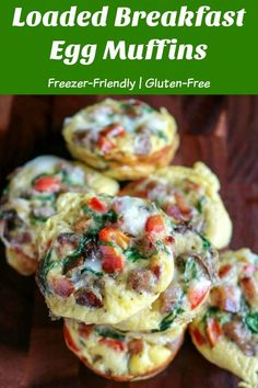 Loaded Breakfast Egg Muffins are full of your favorite meats and veggies, freezer-friendly, and easy to make. They're super versatile, so use your favorite ingredients. Make a big batch for a quick weekday breakfast, brunch, or gameday tailgate #eggs #eggmuffins #breakfasteggmuffins #glutenfree