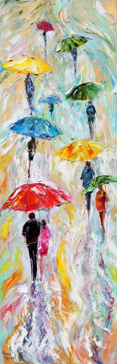 Original oil painting Abstract Rain People by Karensfineart