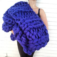 "42"" x 60"" Super Plush Extra Chunky Knit Sapphire Blue Wool Throw Blanket. OH MY GOSH THIS IS GORGEOUS"