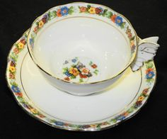 ROYAL ALBERT Crown Wide Mouth BUTTERFLY HANDLE TEA CUP AND SAUCER