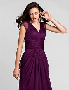 Bridesmaid Dress Floor Length Chiffon Sheath Column V Neck Dress (1036332) – USD $ 99.99