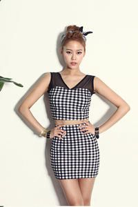 Black Cute Pin-up Retro Style Set Short Vest Top and Mini Fitted Plaid Skirt