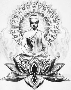 If you're planning to get a Buddha tattoo design, you've come to the best place. We have the best & most beautiful Buddha tattoos for inspiration. Buda Tattoo, Buddha Tattoo Design, Buddha Drawing, Buddha Painting, Buddha Kunst, Buddha Art, Body Art Tattoos, New Tattoos, Sleeve Tattoos